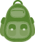Green backpack icon