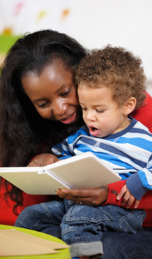 Mother Reading with Pre-K age Son