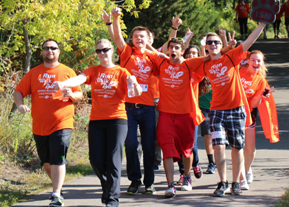 Enthusiastic participants during the Run, Walk, Roll  Bullying Prevention event
