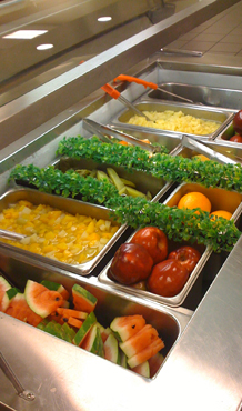 Beautiful Selection of Fruits and Vegetables in School Cafeteria Salad Bar