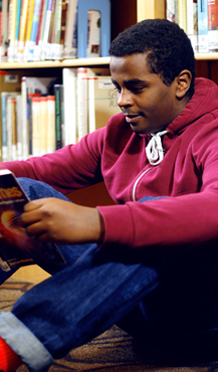 Student Reading in the Library